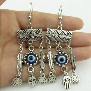 Vintage-Blue-Acrylic-Evil-Eye-Hand-Smile-Face-Dangle-Chandelier-Hook-Earrings