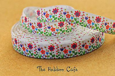 Flower Garden printed grosgrain ribbon 22mm wide