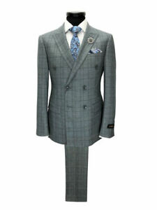 PAMONI-Grey-Prince-Of-Wales-Check-Double-Breasted-Slim-Fit-Suit