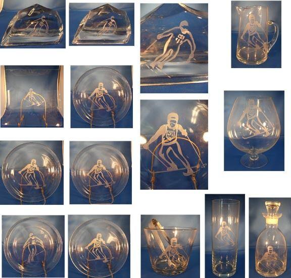 U S OLYMPIC SKI TEAM ETCHED GLASS STOWE VT 13 PC C1960s