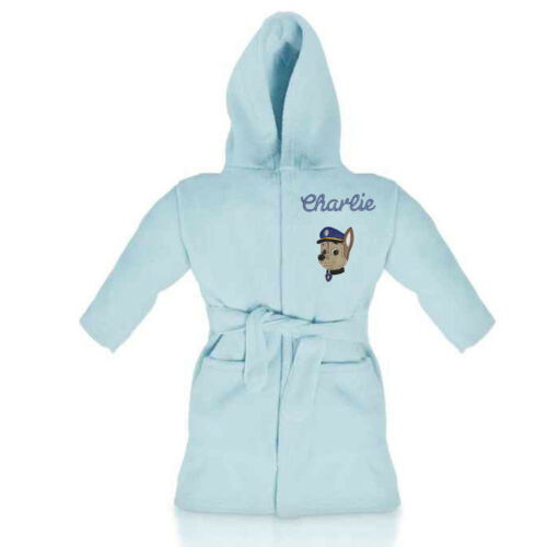 BOYS CHASE PAW PATROL personalised dressing gown//bathrobe embroidered with name