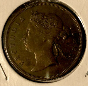 Malaysia-British-Straits-Settlements-1873-1-Cent-Bronze-Collectible-Coin-KM-9