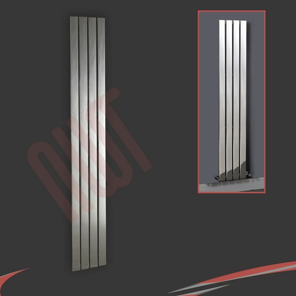 300mm(w) x 1800mm(h)  Luna  Designer Chrome Grünical Radiator 4 Flat Panels