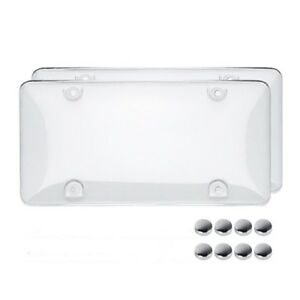 2x-Clear-License-Plate-Covers-Tag-Frame-Bubble-Shield-Truck-Car