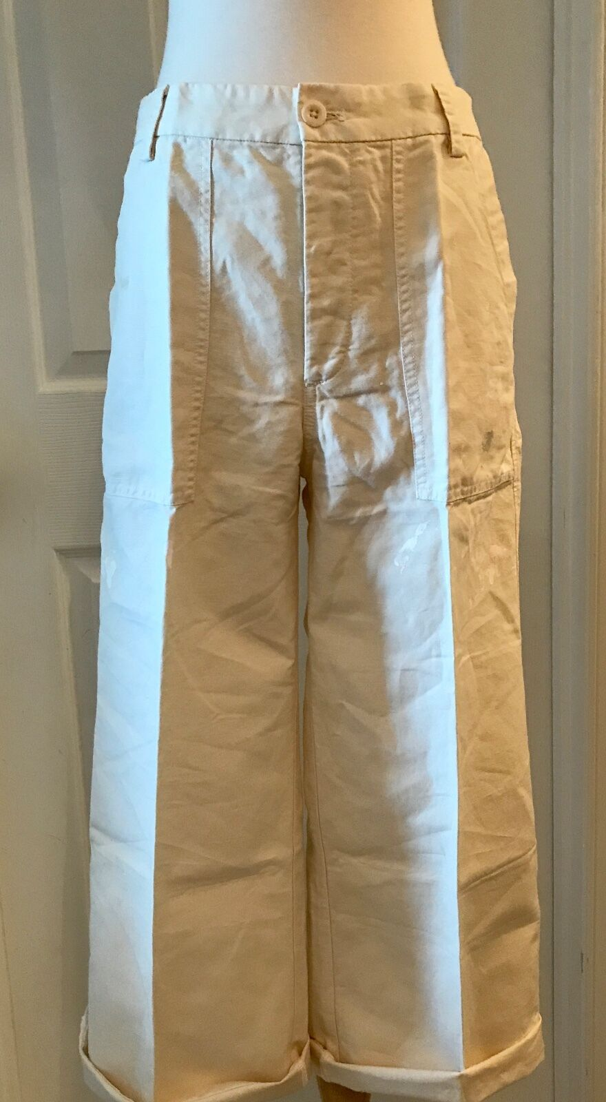 f9cafaa44c J.CREW LIMITED-EDITION CROPPED PANT IN PAINT SPLATTER SIZE 6 ECRU G6658