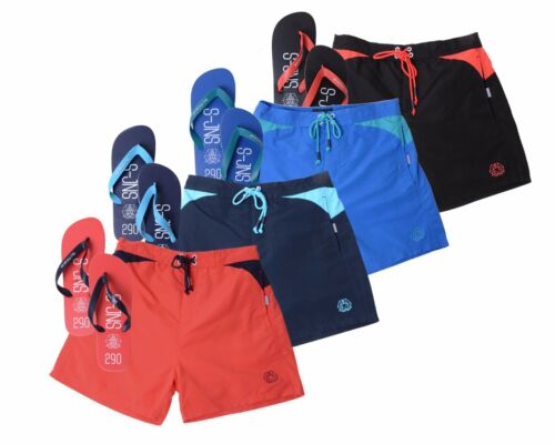 Mens Smith /& Jones 3//4 Mesh Lined Swim Beach Shorts /& Holiday Pool Flip Flops