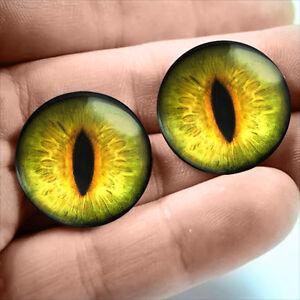20mm Yellow Green Glass Gothic Scifi Dragon Creature Taxidermy Eyeballs Fantasy