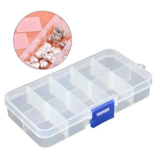 10 Slots Plastic Small Parts Box Small Screw Bolts Nails Box Nuts Fast Hard F5X6