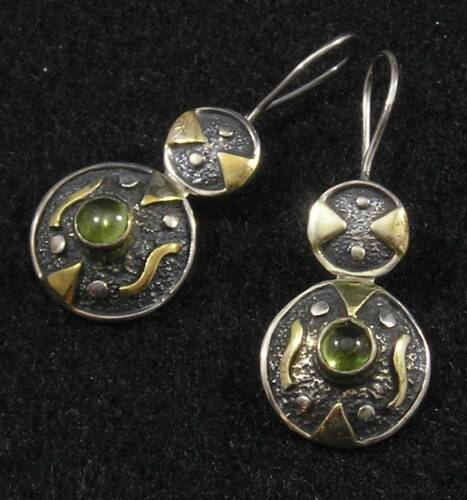 PERIDOT Round Antiqued .925 STERLING SILVER 22K GOLD Hook Dangle EARRINGS