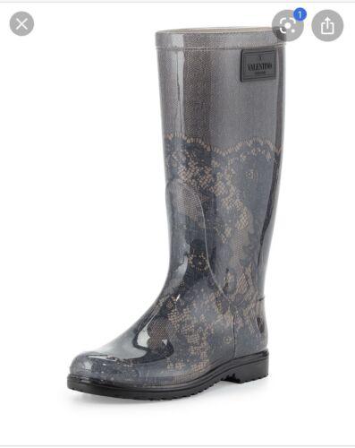Valentino Garavani Lace Print Rain Boots, Size 36