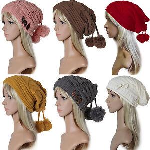 femmes-Bonnet-Ballon-tricote-D-039-Hiver-long-Slouch-pompon