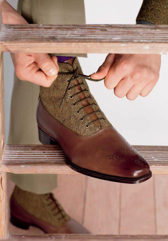 Homme Fait à la Main bottes en Cuir marron Tweed Tissu Richelieu à Formal Wear Casual chaussures