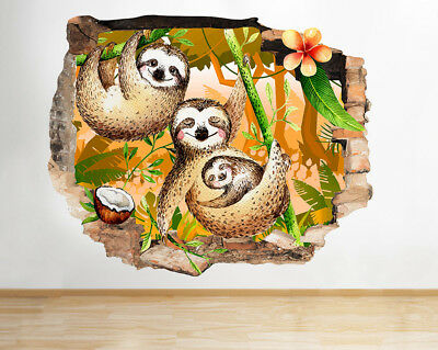 J032 Sloth Bears Baby Kids Jungle Smashed Wall Decal 3D Art Stickers Vinyl Room