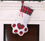 Plaid Paw Christmas Stocking for Dog Cat Christmas Gift Bags Tree Ornament