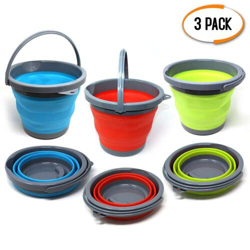 3 Pack 5L Silicon Folding Collapsible Water Buckets Kitchen Camping Garden Hike
