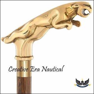 Antique Vintage Style Brass JAGUAR Handle Wood Walking Stick Cane
