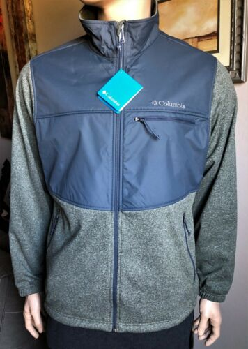 Columbia Men/'s SYNDER LAKE FULL ZIP Fleece Jacket size XL $90 GREEN//GRAY