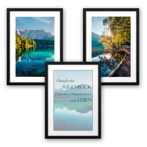 3er Premium Poster-SetAugenblickinkl RahmenWandbild Deko Wohnzimmer