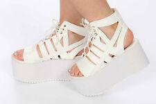 90s vintage style white platform sandals by Y.R.U Medusa open toe platform 8