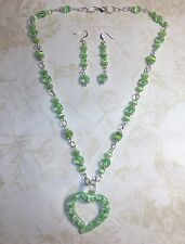 HAND MADE GREEN CAT'S EYE/CRYSTAL NECKLACE WGLASS HEART PENDANT AND EARRINGS