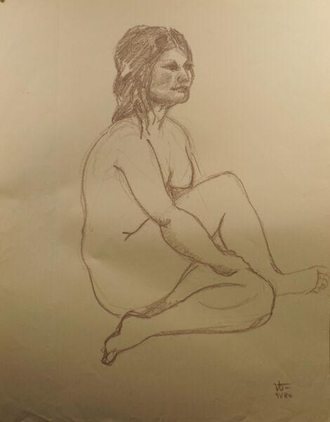 """ Mujer/ Chica Desnudo Studie 3"" Mezclas. Mono.firmado Dat. W 9.v.80"