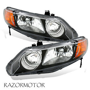 2006-2011-Replacement-Headlight-Pair-For-Honda-Civic-4-Dr-Sedan-Black-Housing