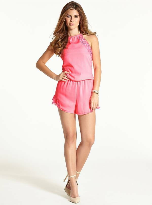 NEW WOMEN'S GUESS THE FLIRTY ROMPER WITH LACE PINK SZ  S 100%AUTHENTIC