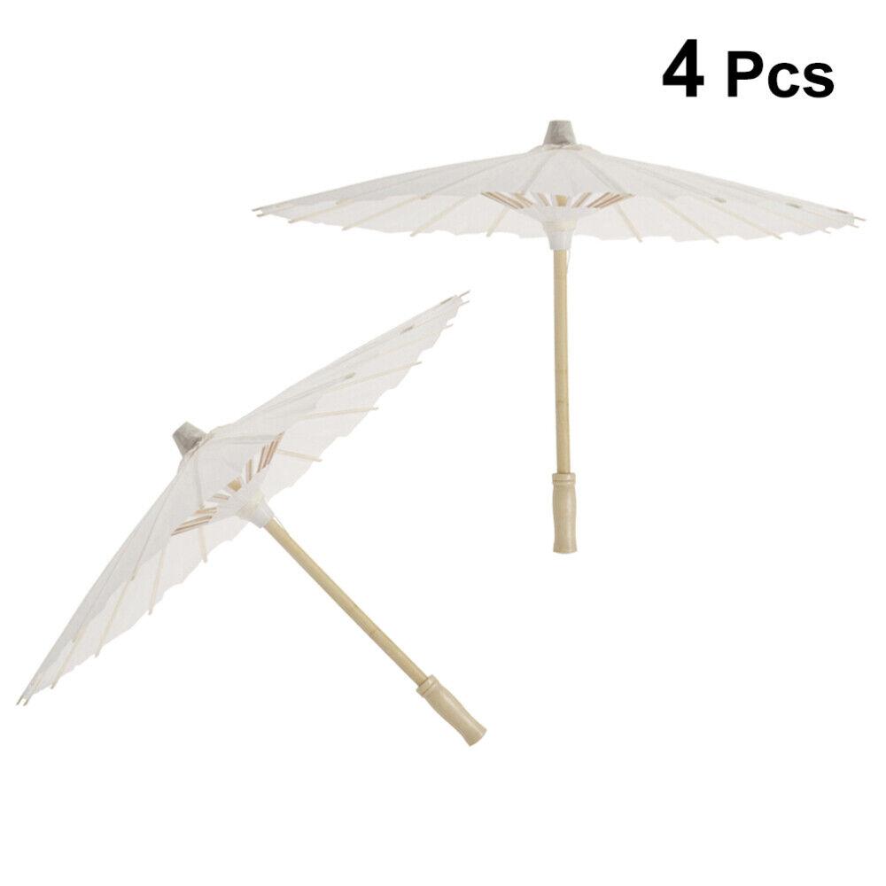 4Pcs DIY Painting Chinese Classic Paper Umbrella Parasol White Wedding Decor New
