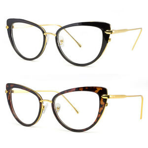Cat-Eye-Clear-Lens-Glasses-Metal-Gold-50S-Vintage-Women-Retro-Eyeglasses