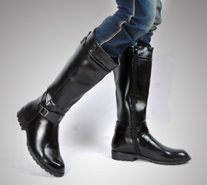 HOT Mens Military Boots Equestrian Leather Motor Boots Knee High Ridding Boot
