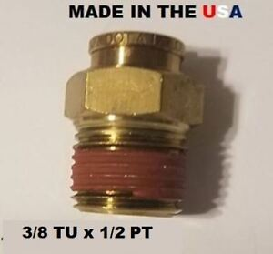 BRASS FITTINGS QUICK CONNECT DOT AIR BRAKE  STRT  MALE CONNECTOR 3/8 T X 1/2 PT
