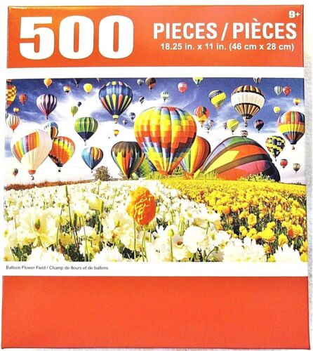 """Hotair Balloons Flower Field Puzzle 500 Pieces 18.25/"""" X 11/"""" Hot Air Piece Puzzle"""