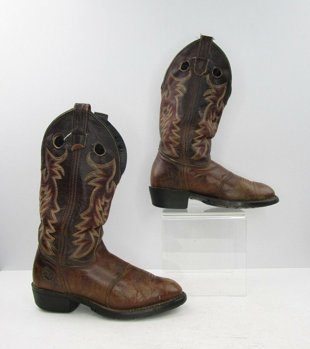 Ladies Double H Brown Leather Cowboy Western Boots Size  7 M