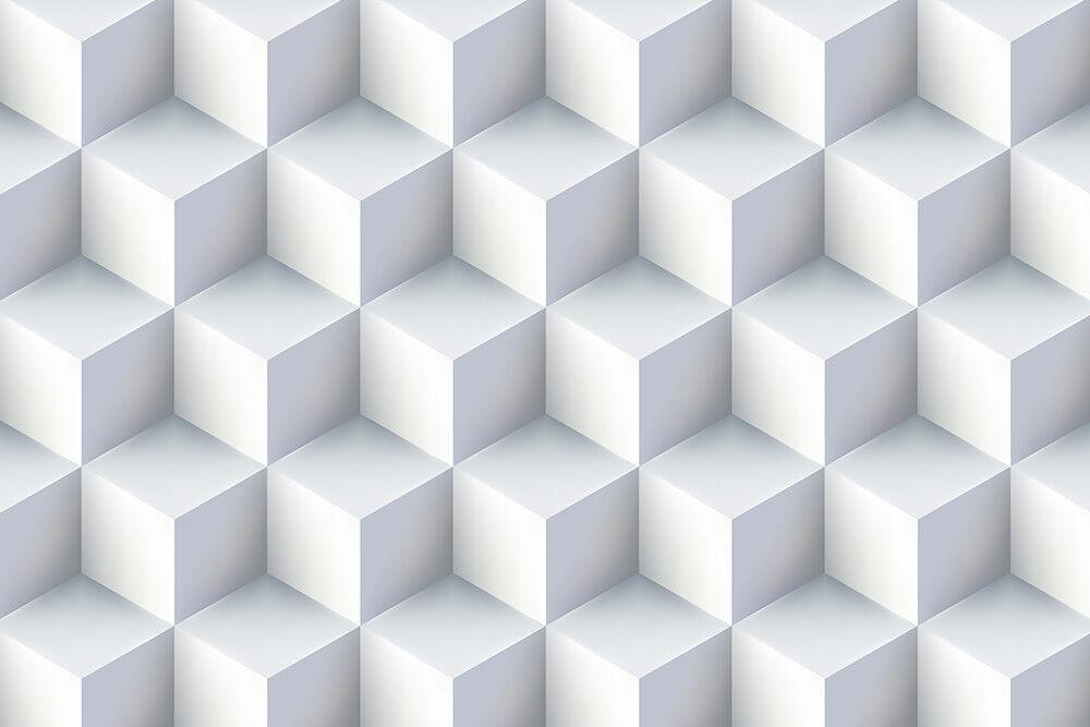 Fototapete 3D Desing Quadrate Weiß - Kleistertapete oder Selbstklebende Tapete