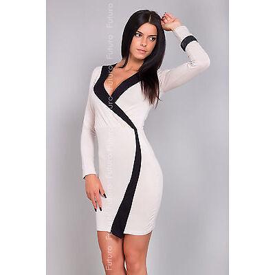 Women's Wrap Dress V Neck Long Sleeve Stretch Bodycon Tunic Size 8-12 8133