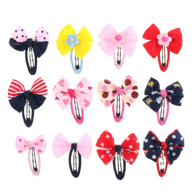 2 Pcs Bow Barrettes Hair Snaps Clips for Baby Kids Girls MD