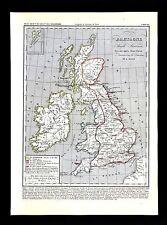 1849 Houze Map Great Britain 600 England Ireland Scotland Anglo Saxons Bretons