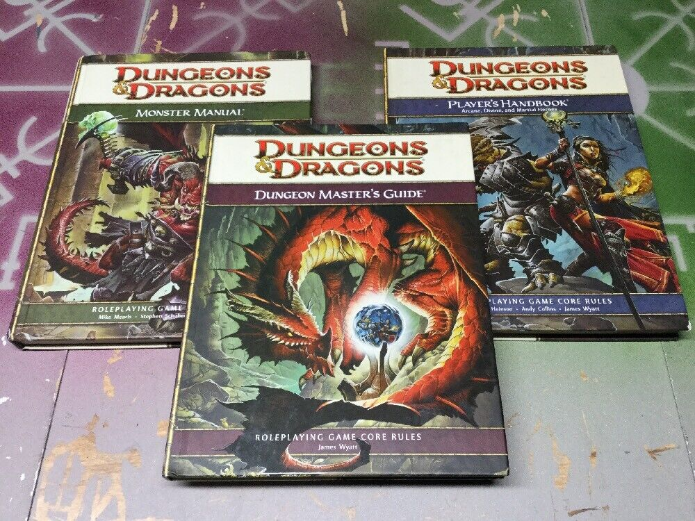 Dungeons & Dragons 4th Edition Roleplaying Game Core Rulebook Lot PHB, DMG, MM