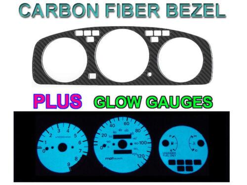 BLUE//GREEN GLOW GAUGE FACE SET 92-95 HONDA CIVIC MANUAL TACH CARBON FIBER BEZEL