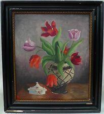 Ölgemälde Blumen Stillleben mit Tulpen und Porzellandose- Schleiflackrahmen-