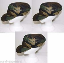 (3) NEW Italian Military Field BDU Hat Cap Geen Woodland Camo Men's Medium-Large