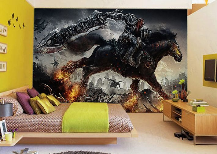 Huge 3D Combustion Dark Horse Paper Wall Print Decal Wall Deco Indoor Murals