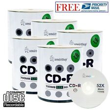 500 Pack Smartbuy 52X CD-R 700MB 80Min Logo Blank Recordable Disc Priority Mail