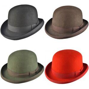 Grey Bowler Hat Premium Wool Felt Lined