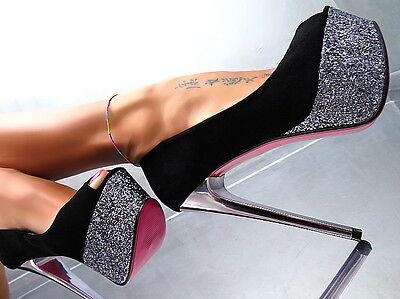 Unique Schwarz Silver Plateau Neu 2017 Elegant High Heels M67 Pumps Schuhe 40