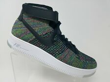 Nike Air Force 1 Ultra Flyknit Mid Multicolor Sz 14 White Black Strap 817420 002