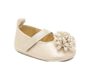 NWT Laura Ashley Infant Girl Grace Mary Crib Shoes Sz 3 Gold