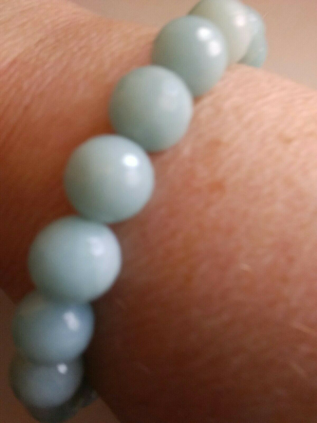 Natural Amazonite Stretch Round Beads 9mm Bracelet AAA NWOT