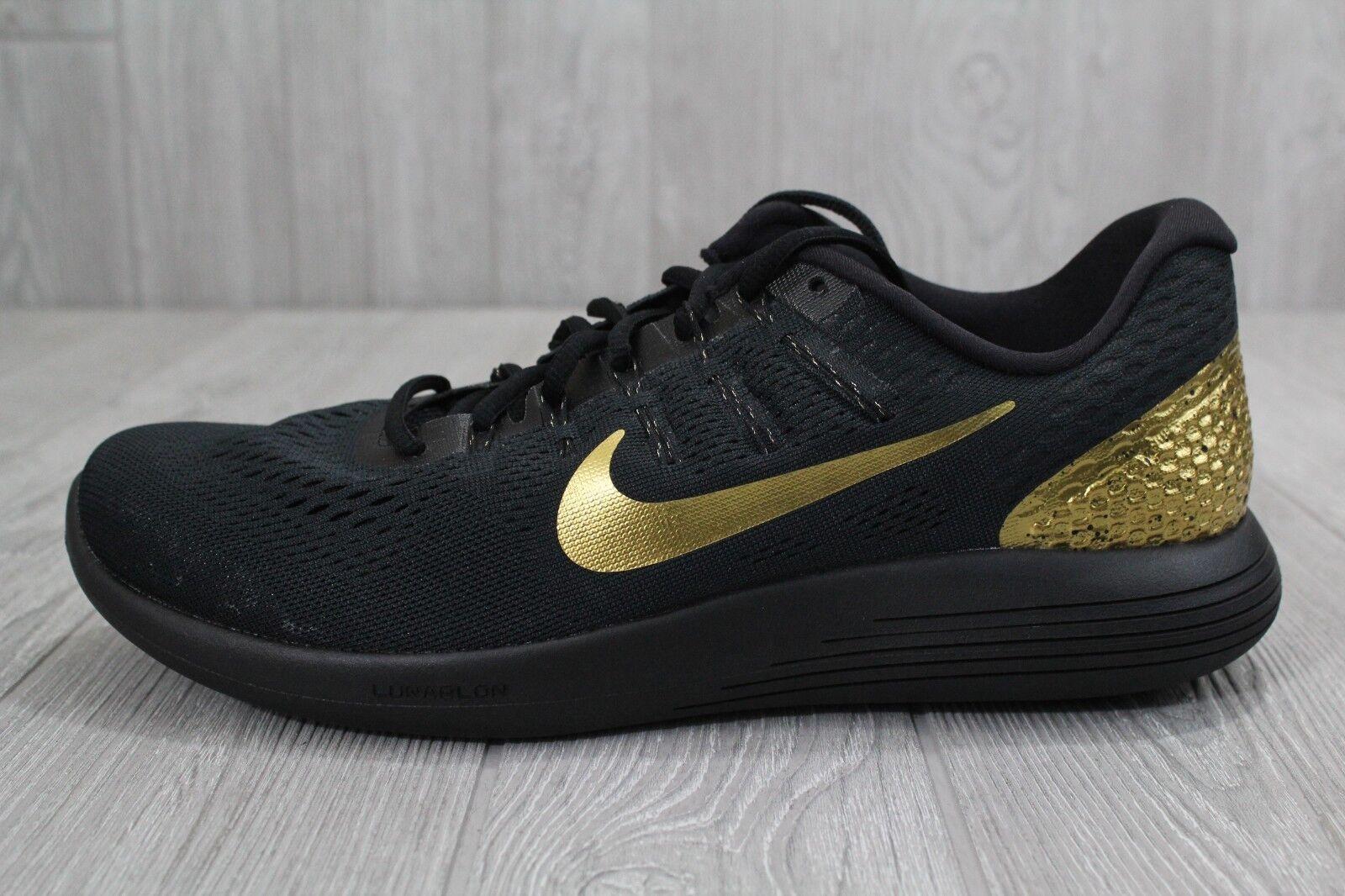34 Nike Lunarglide 8 LE Black gold Medal 11.5 Men's Running shoes 878706-007
