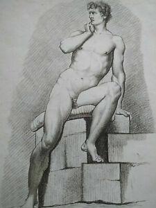 Rare gravure XVIIIème Jouvenet et Natoir nu cahier académie homme Bonnet
